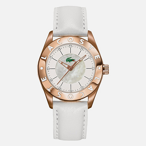 Biarritz rose gold leather strap watch