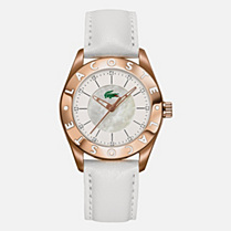 Lacoste Biarritz rose gold leather strap watch Women