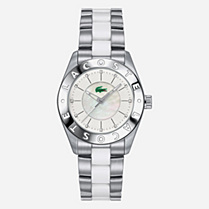 Lacoste Biarritz crystals stainless steel bracelet watch Women