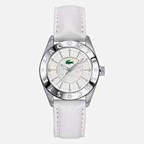 Lacoste Biarritz crystals leather strap watch Women