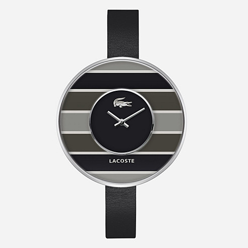 Figari stripes leather strap watch