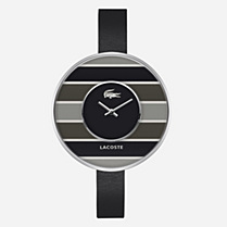 Lacoste Figari stripes leather strap watch Women