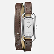 Lacoste Sienna double wrap leather strap watch Women