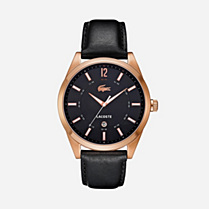 Lacoste Montreal black leather strap watch Men
