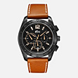 Panama Chrono leather strap watch