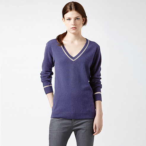 Piped V-neck sweater