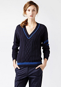 Lacoste Cable knit V-neck Golf sweater Women
