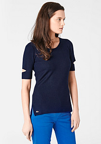 Lacoste Wool sweater with openwork sleeves Women