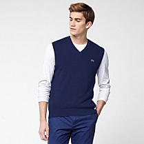 Lacoste Plain V-neck sleeveless sweater Men