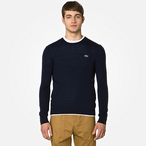 Lacoste Live Merino sweater with elbow patches