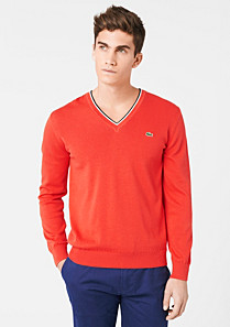 Lacoste V-neck sweater with piping Men