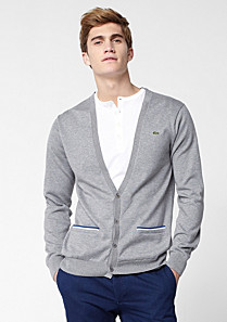 Lacoste Buttoned cardigan with piping Men