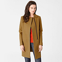 Lacoste Zipped coat with cashmere Women