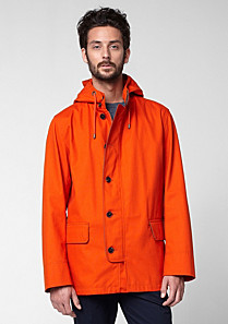 Lacoste Showerproof parka with leather details Men