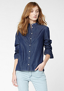 Lacoste Denim shirt with Mao collar Women