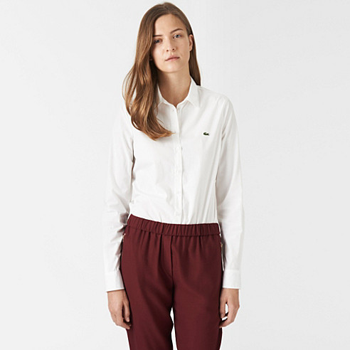 Plain stretch belted shirt