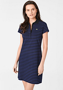Lacoste Striped stretch polo dress Women