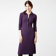 Button-up merino wool dress with belt