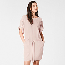 Lacoste Belted tunic dress in silk Women
