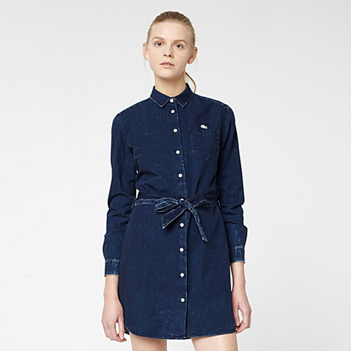 Lacoste Live denim belted dress