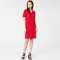 Lacoste V-neck belted dress in cotton and silk Women