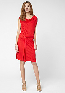 Lacoste Belted cowl neck dress with linen Women