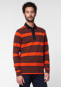 Slim fit striped Lacoste rugby polo Men