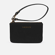 Lacoste Amelia small leather zipped clutch bag. Women