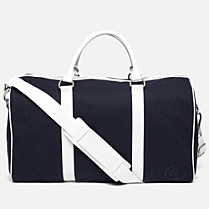 Lacoste 80th Anniversary Edition large Boston bag in cotton and leather Women