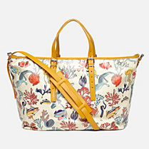 Lacoste Anna cotton and leather printed tote. Women