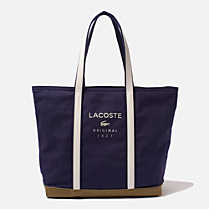 Lacoste Emma cotton and leather tote Women