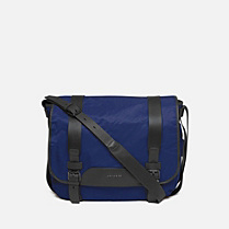 Lacoste Andrew flap satchel with leather details Men