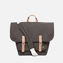 Lacoste Live flap satchel with leather details Men