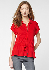 Plain Lacoste polo top with drawstring waist Women