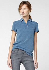 Lacoste polo top with satin collar Women