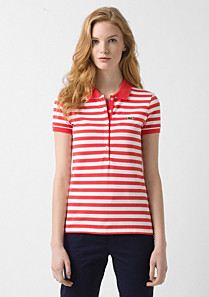 Striped Lacoste stretch polo Women