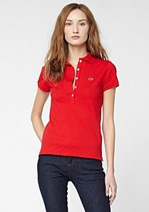 Plain Lacoste stretch polo Women
