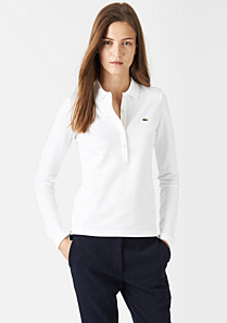 Plain long sleeved Lacoste stretch polo Women
