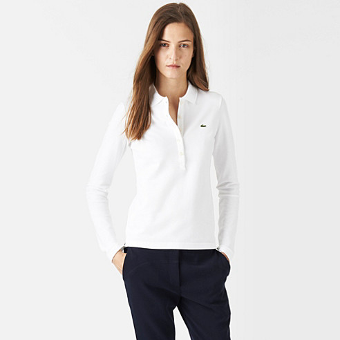 Plain long sleeved Lacoste stretch polo
