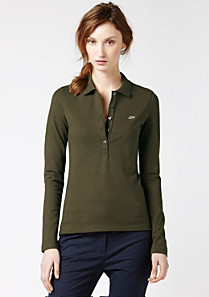 Plain stretch long sleeved Lacoste polo Women