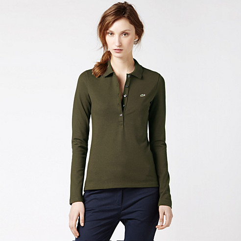 Plain stretch long sleeved Lacoste polo