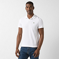 Plain Slim fit Lacoste polo with spread collar Men
