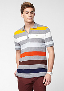 Regular fit Lacoste polo with multi-coloured stripes Men
