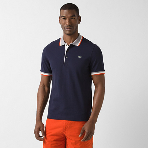 Piped Lacoste stretch polo