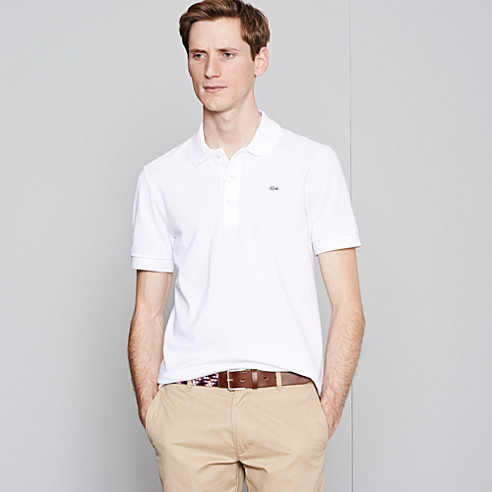 Grey crocodile plain Lacoste stretch polo