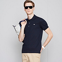 Grey crocodile plain Lacoste stretch polo Men