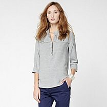 Lacoste 3/4 sleeve top with button-down collar Women