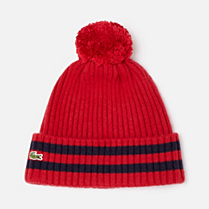 Lacoste Striped bobble hat Children