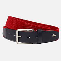 Lacoste Elasticated cowhide leather belt Men