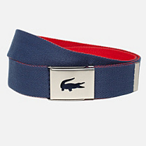 Lacoste Reversible woven webbing belt with gift box Men